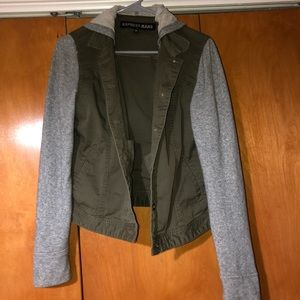 Gray and olive green jacket with hood.